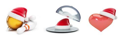 Ανοικτό καπέλο santa δίσκων, σφαίρα Χριστουγέννων στο καπέλο santa μπόουλινγκ καπέλων santa, σημάδι καρδιών στην τρισδιάστατη απε Στοκ εικόνα με δικαίωμα ελεύθερης χρήσης