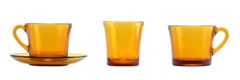 Ανοικτό καφέ σύνολο γυαλιού που απομονώνεται στο λευκό Στοκ Εικόνες