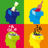 Ανοικτό κεφάλι, κεφάλι του ατόμου, επίπεδο σχέδιο Στοκ Φωτογραφίες