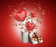 Ανοικτό κιβώτιο δώρων με τις πετώντας καρδιές από το εσωτερικό Σχέδιο καρτών ημέρας βαλεντίνων - σύμβολα της αγάπης στοκ φωτογραφία