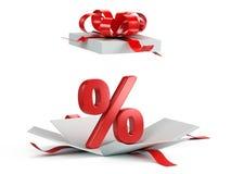 Ανοικτό κιβώτιο δώρων με τα κόκκινα τοις εκατό διανυσματική απεικόνιση
