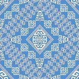 Ανοικτό μπλε γεωμετρικό ελληνικό άνευ ραφής σχέδιο κομψότητας Στοκ Φωτογραφίες