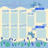 Ανοικτό μπλε εβδομαδιαίος αρμόδιος για το σχεδιασμό με τα λουλούδια και πεταλούδες διανυσματική απεικόνιση
