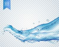 ανοικτό μπλε νερό ή υγρό που ρέει στο κυματιστό ύφος σε διαφανή Στοκ Εικόνες