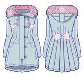 Ανοικτό μπλε παλτό τζιν με τη ρόδινη γούνα και το χαριτωμένο καλλωπισμό απεικόνιση αποθεμάτων
