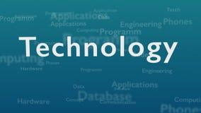 Ανοικτό μπλε υπόβαθρο με τις διαφορετικές λέξεις, οι οποίες εξετάζουν την τεχνολογία κλείστε επάνω διάστημα αντιγράφων τρισδιάστα ελεύθερη απεικόνιση δικαιώματος