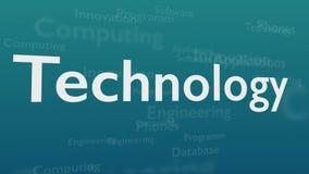 Ανοικτό μπλε υπόβαθρο με τις διαφορετικές λέξεις, οι οποίες εξετάζουν την τεχνολογία o r r Animatiom 4K διανυσματική απεικόνιση