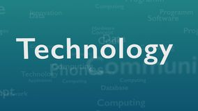 Ανοικτό μπλε υπόβαθρο με τις διαφορετικές λέξεις, οι οποίες εξετάζουν την τεχνολογία o r r Animatiom 4K ελεύθερη απεικόνιση δικαιώματος