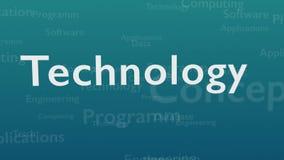 Ανοικτό μπλε υπόβαθρο με τις διαφορετικές λέξεις, οι οποίες εξετάζουν την τεχνολογία o r r Animatiom 4K απεικόνιση αποθεμάτων