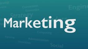 Ανοικτό μπλε υπόβαθρο με τις υπαγόμενες λέξεις, οι οποίες εξετάζουν το μάρκετινγκ Η τολμηρή λέξη είναι τοποθετημένη στο κέντρο διανυσματική απεικόνιση