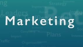 Ανοικτό μπλε υπόβαθρο με τις υπαγόμενες λέξεις, οι οποίες εξετάζουν το μάρκετινγκ Η τολμηρή λέξη εμφανίζεται από τις συνδεδεμένες ελεύθερη απεικόνιση δικαιώματος