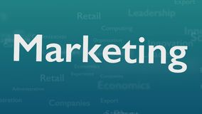 Ανοικτό μπλε υπόβαθρο με τις υπαγόμενες λέξεις, οι οποίες εξετάζουν το μάρκετινγκ Η τολμηρή λέξη εμφανίζεται από τις συνδεδεμένες διανυσματική απεικόνιση