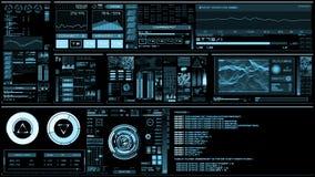Ανοικτό μπλε φουτουριστική διεπαφή/ψηφιακό screen/HUD φιλμ μικρού μήκους