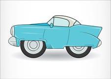Ανοικτό μπλε κλασικό αναδρομικό αυτοκίνητο Στην άσπρη ανασκόπηση ελεύθερη απεικόνιση δικαιώματος