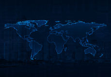 Ανοικτό μπλε παγκόσμιος χάρτης στο υπόβαθρο γραφικών παραστάσεων πόλεων και επιχειρήσεων, Elem Στοκ Εικόνες
