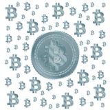 Ανοικτό μπλε σχέδιο Bitcoin Στοκ φωτογραφία με δικαίωμα ελεύθερης χρήσης