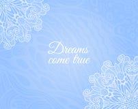 Ανοικτό μπλε υπόβαθρο με το floral doodle Στοκ Εικόνες