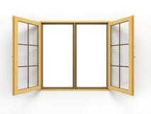 Ανοικτό ξύλινο παράθυρο στο λευκό Στοκ φωτογραφίες με δικαίωμα ελεύθερης χρήσης