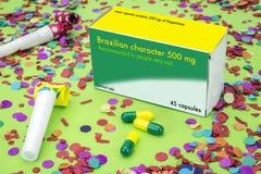 Ανοικτό πακέτο ιατρικής επονομαζόμενο το βραζιλιάνο χαρακτήρα Στοκ Εικόνες