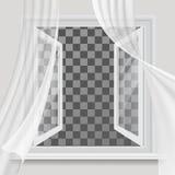 Ανοικτό παράθυρο και κυματίζοντας διαφανής κουρτίνα ελεύθερη απεικόνιση δικαιώματος