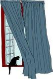 Ανοικτό παράθυρο με τη μαύρη γάτα στην προεξοχή απεικόνιση αποθεμάτων