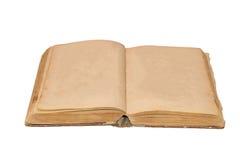 Ανοικτό παλαιό βιβλίο που απομονώνονται, εκλεκτής ποιότητας βιβλία με τις κενές κίτρινες λεκιασμένες σελίδες Στοκ Εικόνα