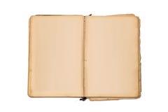 Ανοικτό παλαιό βιβλίο που απομονώνονται, εκλεκτής ποιότητας βιβλίο με τις κενές κίτρινες λεκιασμένες σελίδες Στοκ Φωτογραφία