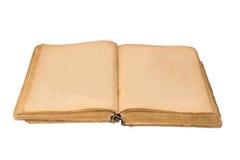 Ανοικτό παλαιό βιβλίο που απομονώνονται, εκλεκτής ποιότητας βιβλίο με τις κενές κίτρινες λεκιασμένες σελίδες Στοκ Εικόνα