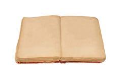 Ανοικτό παλαιό βιβλίο που απομονώνονται, εκλεκτής ποιότητας βιβλίο με τις κενές κίτρινες λεκιασμένες σελίδες Στοκ Φωτογραφίες