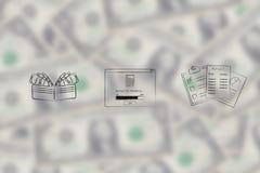 Ανοικτό πορτοφόλι δίπλα στη σύνταξη προϋπολογισμού του υπό εξέλιξη υπερεμφανιζόμενου παραθύρου και του STAT Στοκ Φωτογραφίες