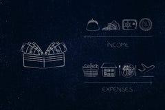 Ανοικτό πορτοφόλι με τα χρήματα δίπλα στα εισοδηματικά εικονίδια εναντίον των δαπανών Belo Στοκ Εικόνα
