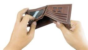 Ανοικτό πορτοφόλι χεριών χωρίς τα χρήματα και τίποτα στοκ φωτογραφίες