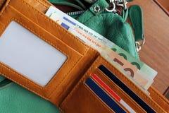 Ανοικτό πορτοφόλι με τα χρήματα Στοκ Φωτογραφίες