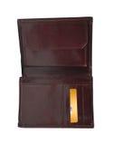 Ανοικτό πορτοφόλι με τη χρυσή κάρτα Στοκ Εικόνες