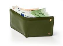 Ανοικτό πορτοφόλι με το ευρώ Στοκ φωτογραφία με δικαίωμα ελεύθερης χρήσης