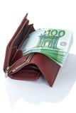 Ανοικτό πορτοφόλι με το ευρώ Στοκ Φωτογραφία