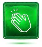 Ανοικτό πράσινο τετραγωνικό κουμπί νέου εικονιδίων χειροκροτήματος χεριών διανυσματική απεικόνιση