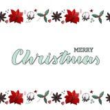 Ανοικτό πράσινο handlettering κάρτα Χαρούμενα Χριστούγεννας με τα ατελείωτα σύνορα απεικόνιση αποθεμάτων