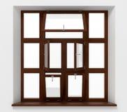 Ανοικτό πλαστικό παράθυρο με την ξύλινη σύσταση Στοκ εικόνα με δικαίωμα ελεύθερης χρήσης