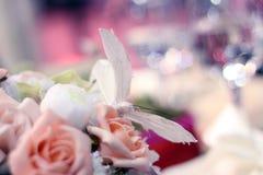 Ανοικτό ροζ αυξήθηκε ντεκόρ με την πεταλούδα Στοκ Φωτογραφία