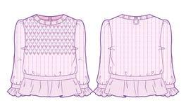 Ανοικτό ροζ πλεκτή μπλούζα με την εκτενή διακόσμηση Στοκ Εικόνες