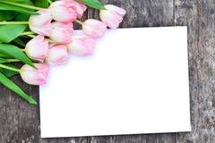 Ανοικτό ροζ τουλίπες στο δρύινο καφετή πίνακα με το άσπρο φύλλο pap Στοκ Εικόνα