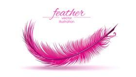 Ανοικτό ροζ φτερό που απομονώνεται στο άσπρο υπόβαθρο διανυσματική απεικόνιση