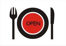 ανοικτό σημάδι εστιατορί&omeg Στοκ Φωτογραφίες