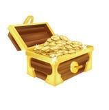 Ανοικτό στήθος θησαυρών με το χρυσό που απομονώνεται Στοκ Εικόνα