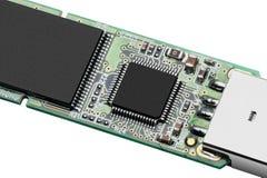 Ανοικτό τσιπ της κινηματογράφησης σε πρώτο πλάνο κίνησης λάμψης USB Στοκ Φωτογραφίες