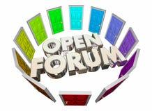 Ανοικτό φόρουμ πολλές λέξεις δημόσια συνάντησης πορτών διανυσματική απεικόνιση