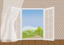 Ανοιχτές πόρτες στο σκηνικό του φυσικού τοπίου ελεύθερη απεικόνιση δικαιώματος