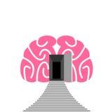 Ανοιχτή πόρτα και βήμα του ανθρώπινου εγκεφάλου Είσοδος σε υποσυνείδητο απεικόνιση αποθεμάτων