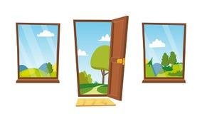 Ανοιχτή πόρτα και διάνυσμα παραθύρων Τοπίο κινούμενων σχεδίων Μπροστινή όψη designed home interior living retro room style Οριζόν Στοκ φωτογραφία με δικαίωμα ελεύθερης χρήσης